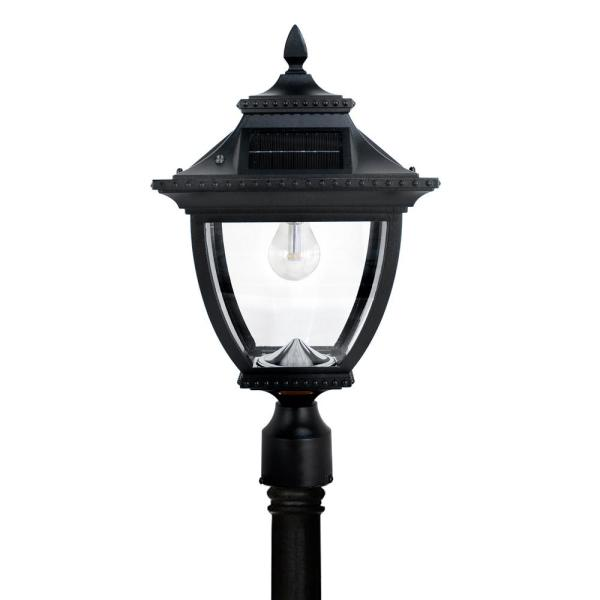 Update Your Home Look With This Gama Sonic Pagoda Bulb Solar Large 1 Light Black Cast Aluminum Led Outdoor Post Lantern With Gs Led Bulb High Or Low Switch