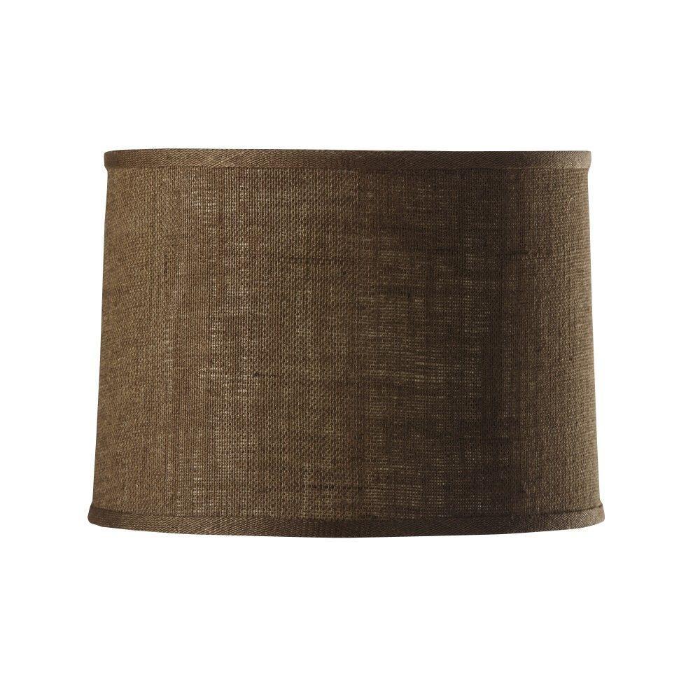 Home Decorators Collection Drum Small 14 in. Diameter Dark Natural Burlap Shade