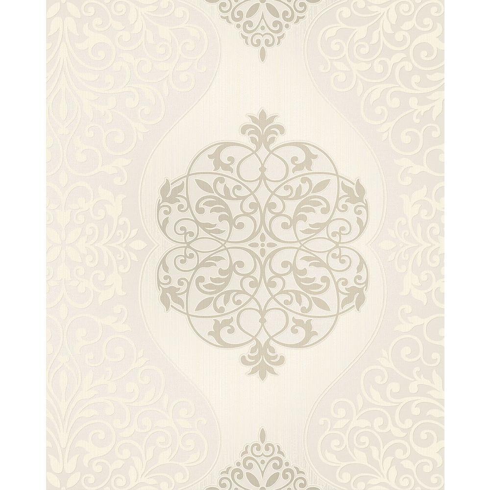 Energico Neutral Medallion Wallpaper Sample