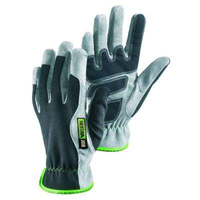 Barys Size 7 Small Reinforced Chamude Palm Breathable Mesh Backhand Glove in Grey and Black