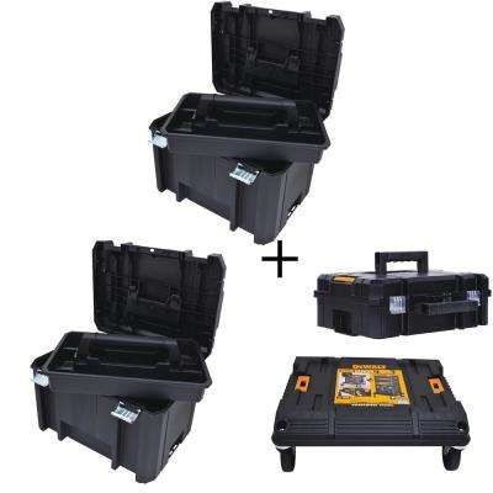 TSTAK VI 17 in. Deep Tool Box (2-Pack), TSTAK II Deep Tool Box and TSTAK Cart Storage System Combo Set (4 Components)