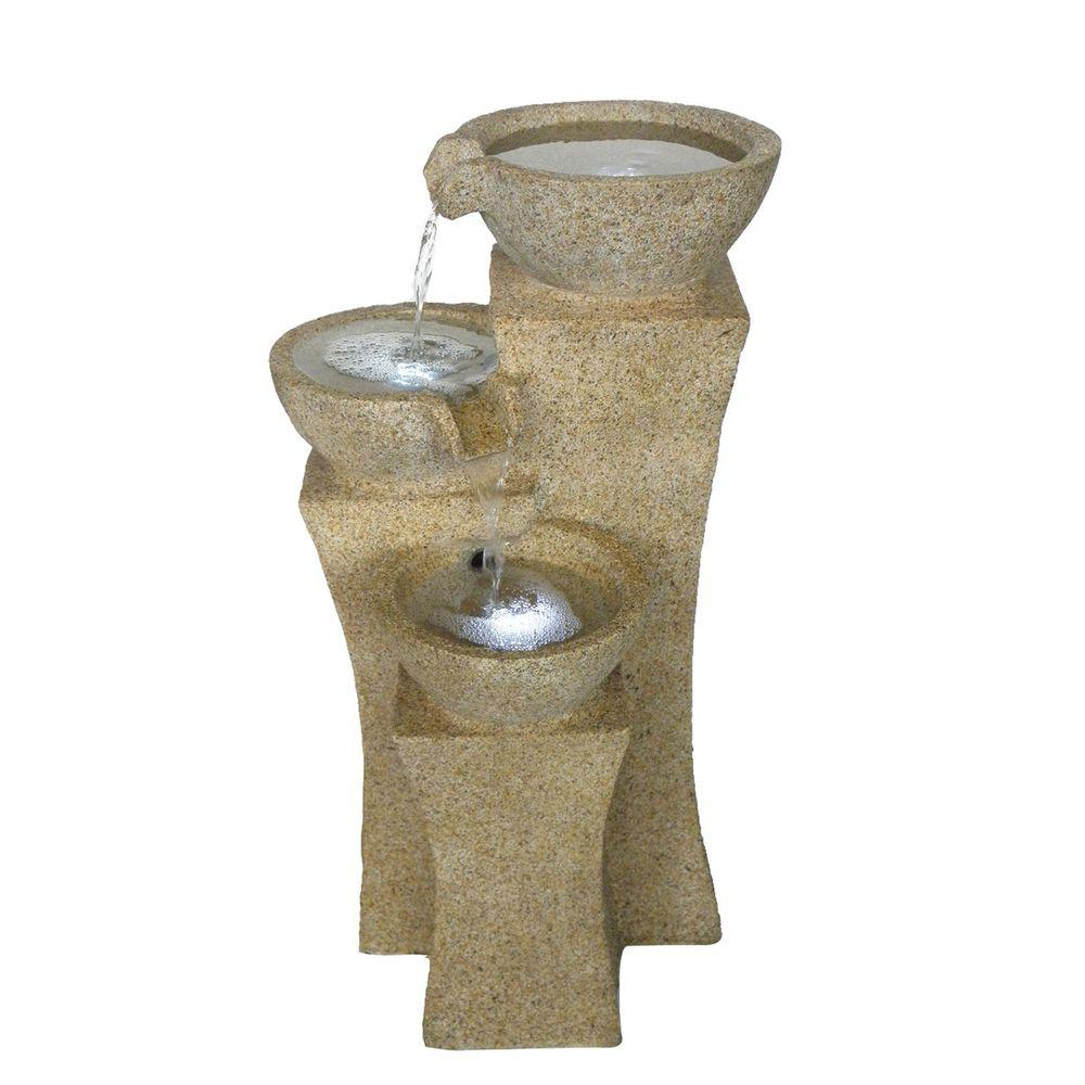 Pure Garden 25 In. Cascade Bowls Fountain With LED Lights 50 0003   The  Home Depot