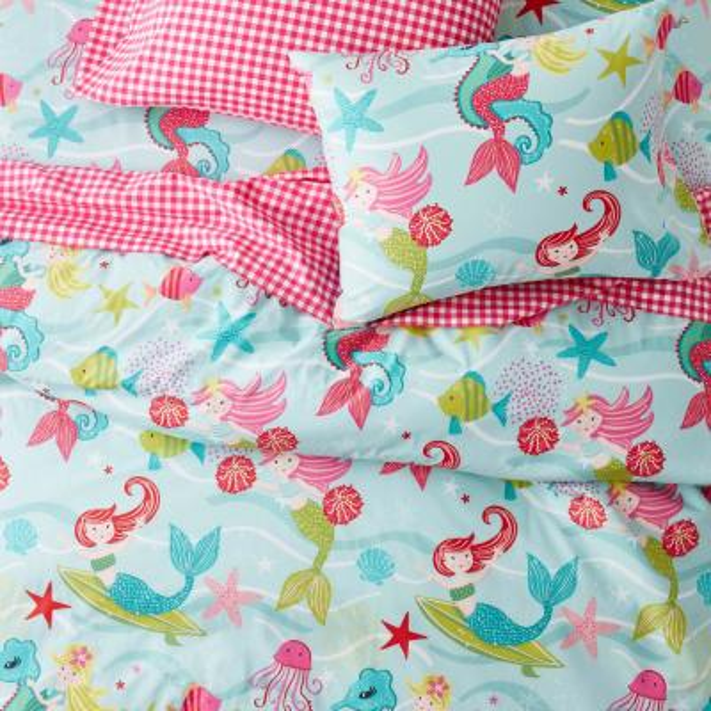 Ocean Mermaid Graphic 200-Thread Count Organic Cotton Percale Sheet Set