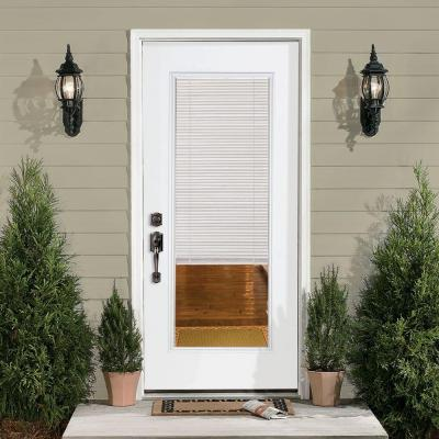 32 in. x 80 in. Premium Full Lite Left Hand Inswing Mini Blind Primed Steel Prehung Front Exterior Door with Brickmold