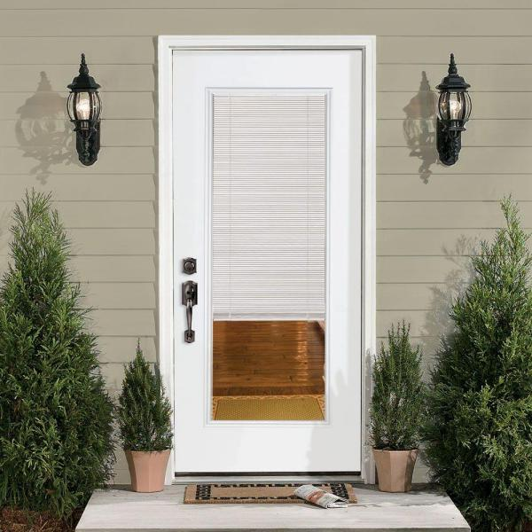 Masonite 32 In X 80 In Mini Blind Right Hand Inswing Primed Steel Prehung Front Exterior Door No Brickmold 46583 The Home Depot