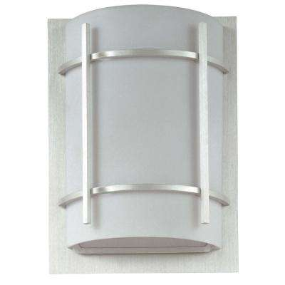 Luna 9 in. W 1-Light Brushed Metal Outdoor Wall Lantern Sconce