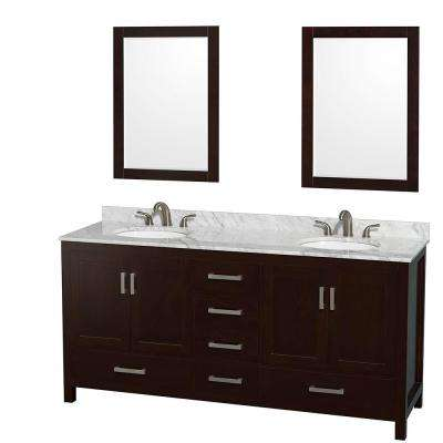 Sheffield 72 in. Double Vanity in Espresso with Marble Vanity Top in Carrara White and 24 in. Mirrors
