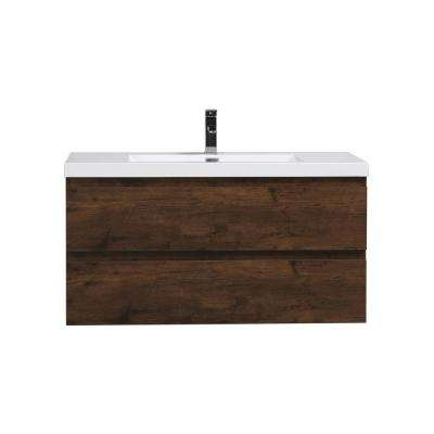 Bohemia 42 in. W Bath Vanity in Rosewood with Reinforced Acrylic Vanity Top in White with White Basin