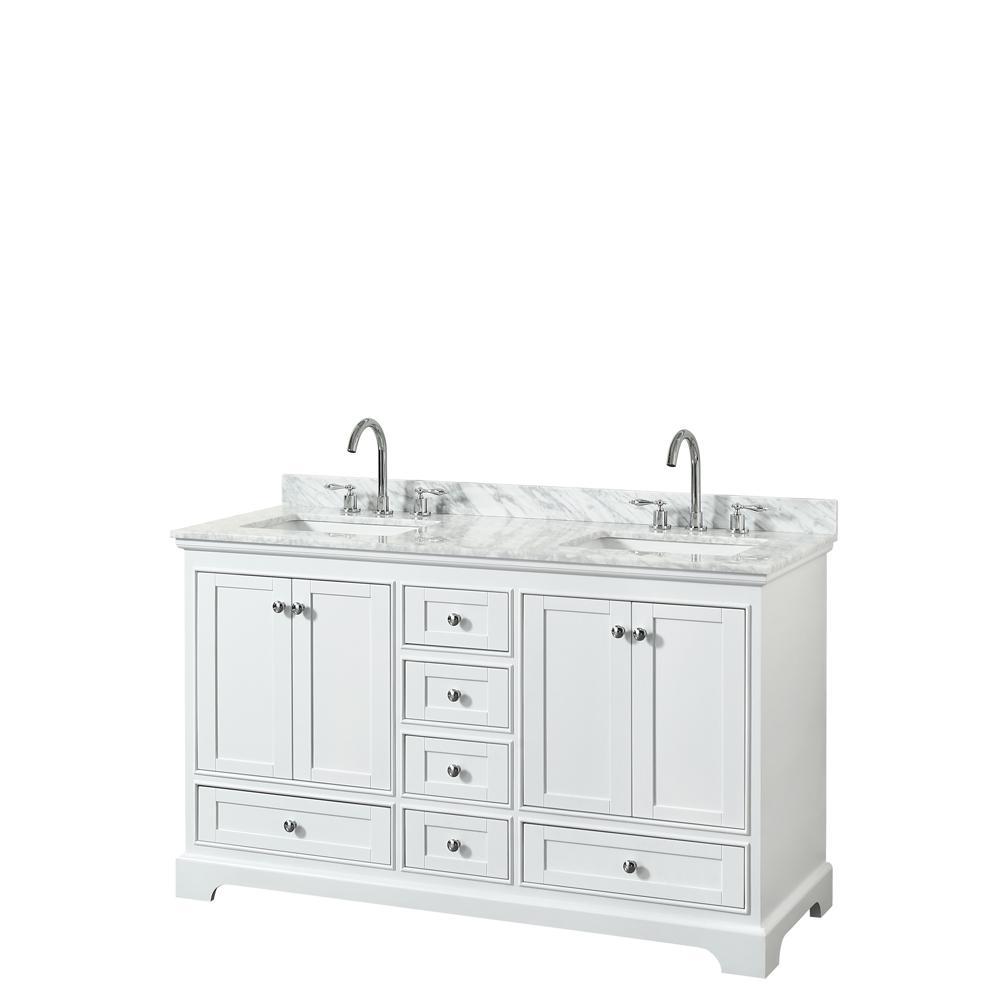 Deborah 60 in. W x 22 in. D Vanity in White with Marble Vanity Top in Carrara White with White Basins