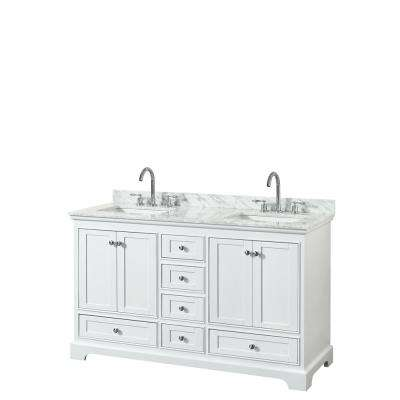 Deborah 60 in. W x 22 in. D Vanity in White with Marble Vanity Top in Carrara White with White Basins
