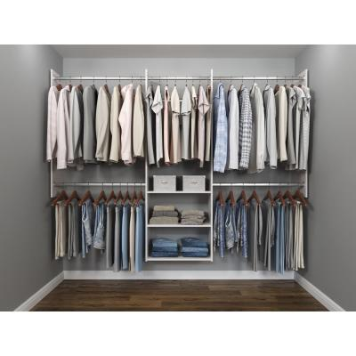Deluxe 60 in. W - 96 in. W White Wood Closet System