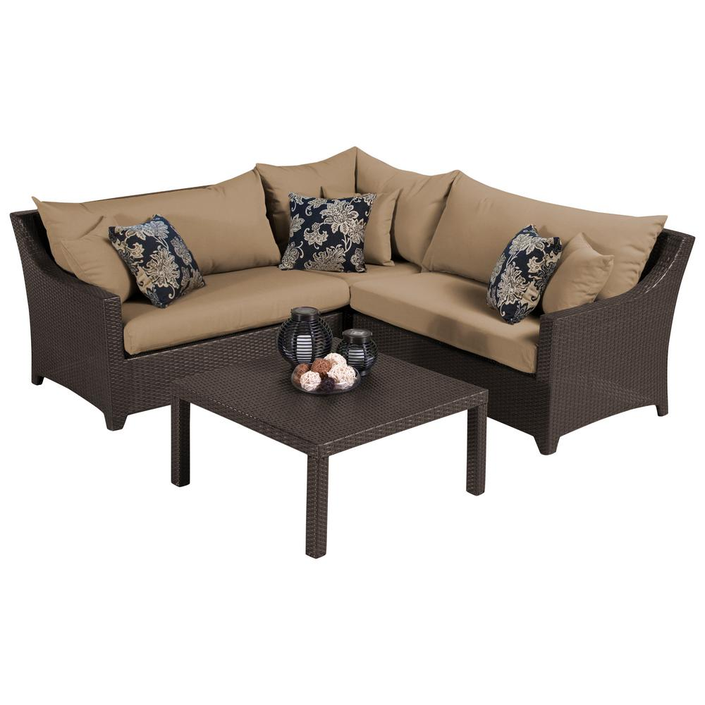 RST Brands Deco 4-Piece Patio Sectional Seating Set with Delano Beige Cushions