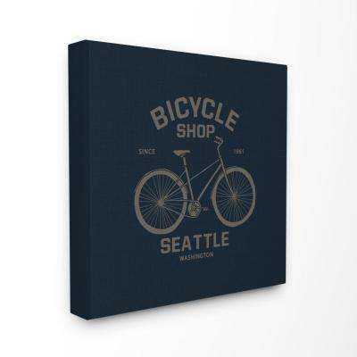 "30 in. x 30 in. ""Navy Blue and Gold Seattle Bicycle Shop Sign"" by Artist Bikini Sous La Pluie Canvas Wall Art"