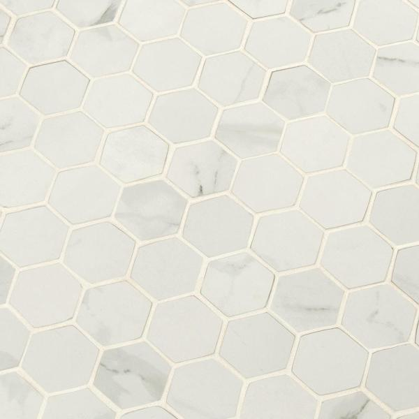 Carrara White Hexagon 12 in. x 12 in. x 10mm Matte Porcelain Mesh-Mounted Mosaic Tile (8 sq. ft. / case)