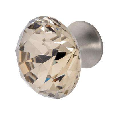 Nina 1-3/8 in. Satin Nickel with Antique Yellow Crystal Cabinet Knob