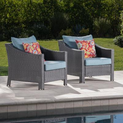 Antibes Gray Wicker Outdoor Club Lounge Chairs with Teal Cushions (2-Pack)