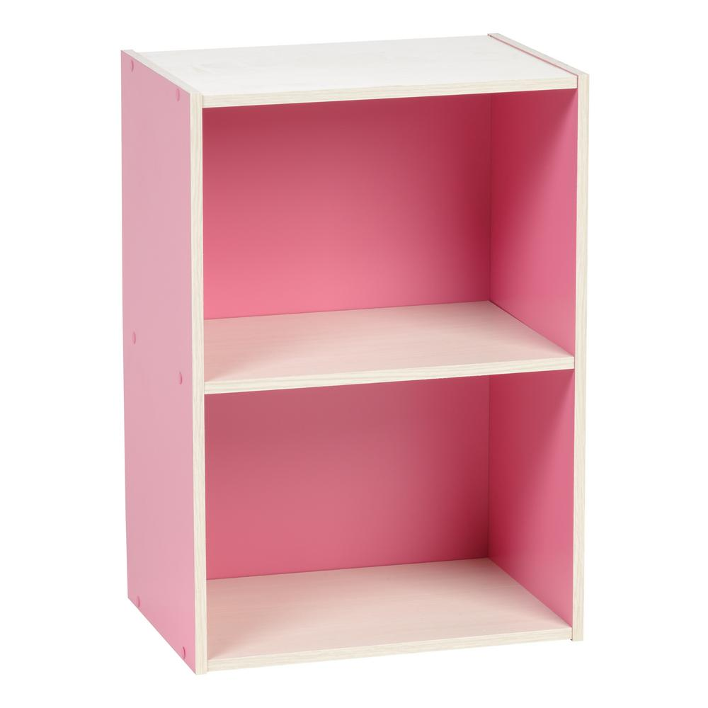 Pink 2-Tier Wood Storage Shelf