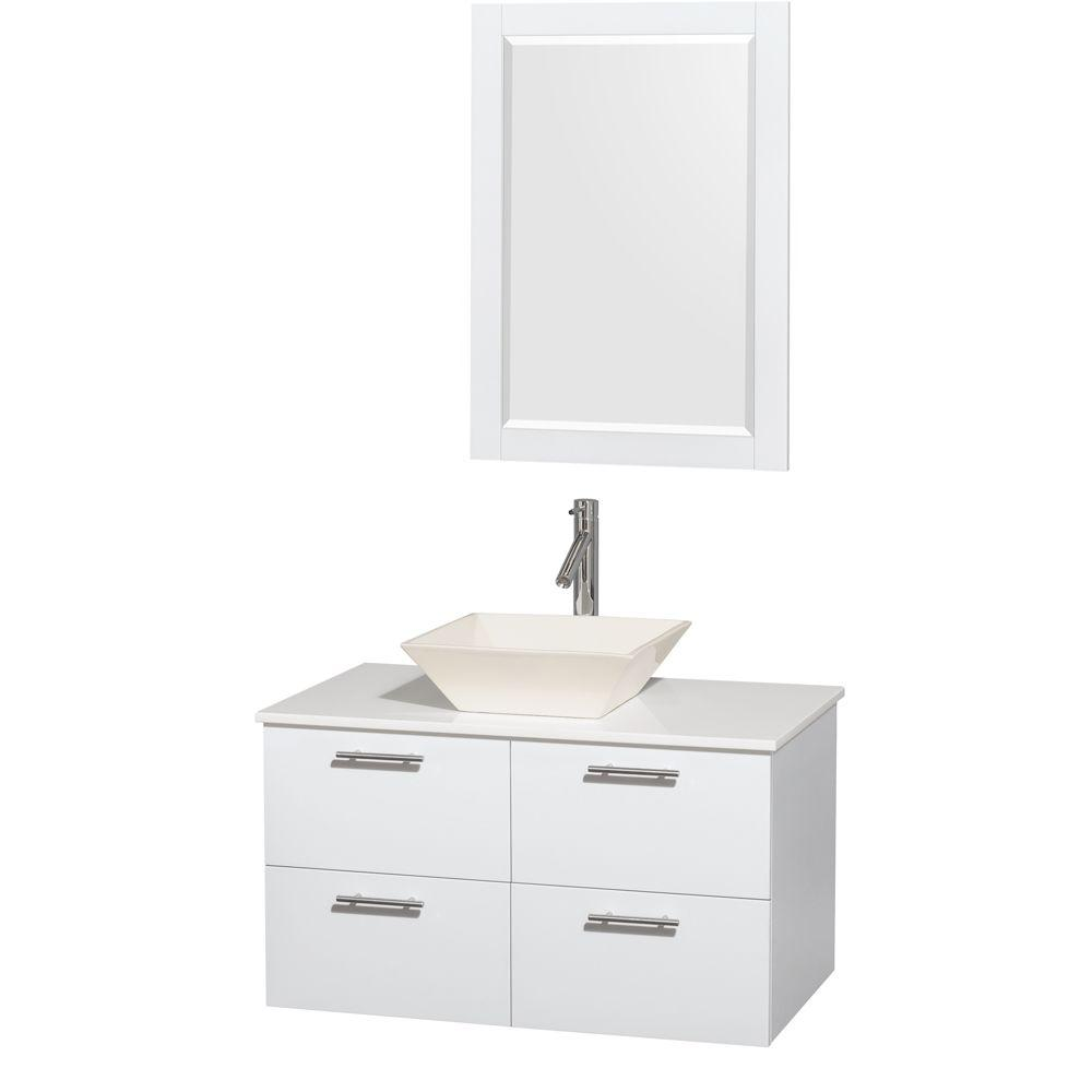 Wyndham Collection Amare 36 in. Vanity in Glossy White with Solid-Surface Vanity Top in White, Porcelain Sink and 24 in. Mirror