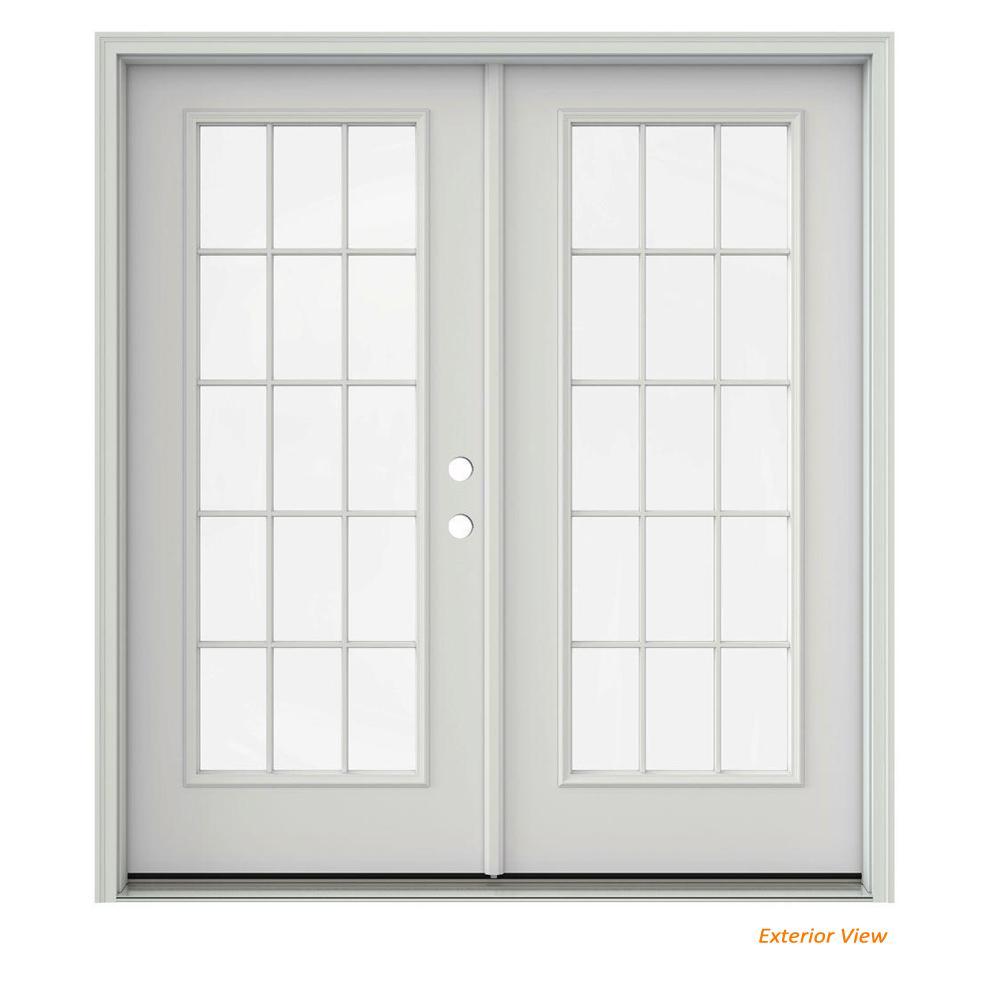 72 in. x 80 in. Primed Steel Left-Hand Inswing 15 Lite Glass Active/Stationary Patio Door