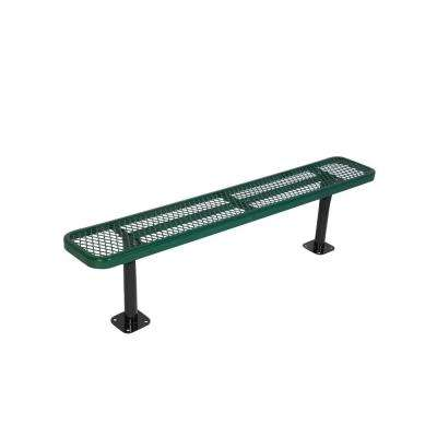 Surface Mount 8 ft. Green Diamond Commercial Park Bench without Back