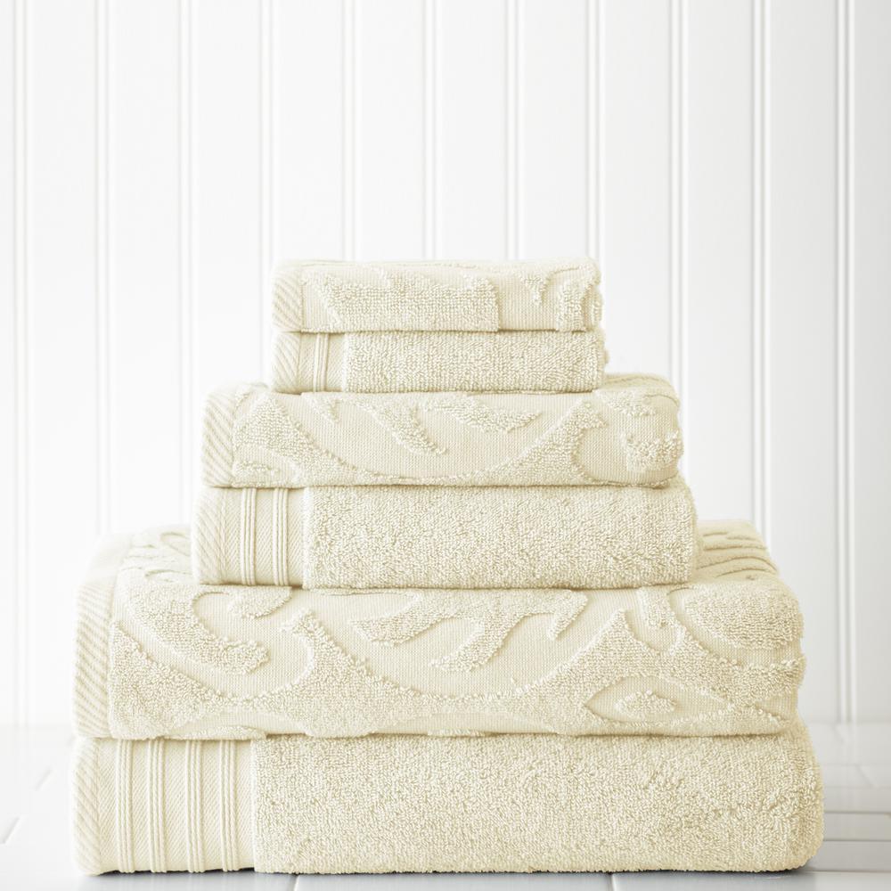 6-Piece Ivory Jacquard/Solid Towel Set-Medallion Swirl