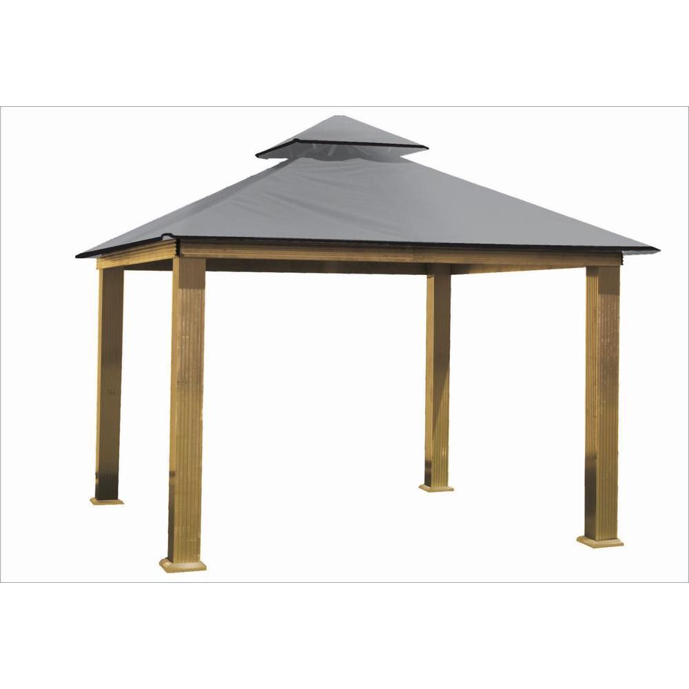 12 ft. x 12 ft. ACACIA Aluminum Gazebo with Mist Gray Canopy by