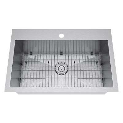 All-in-One Drop-In Stainless Steel 33 in. 1-Hole Single Bowl Kitchen Sink