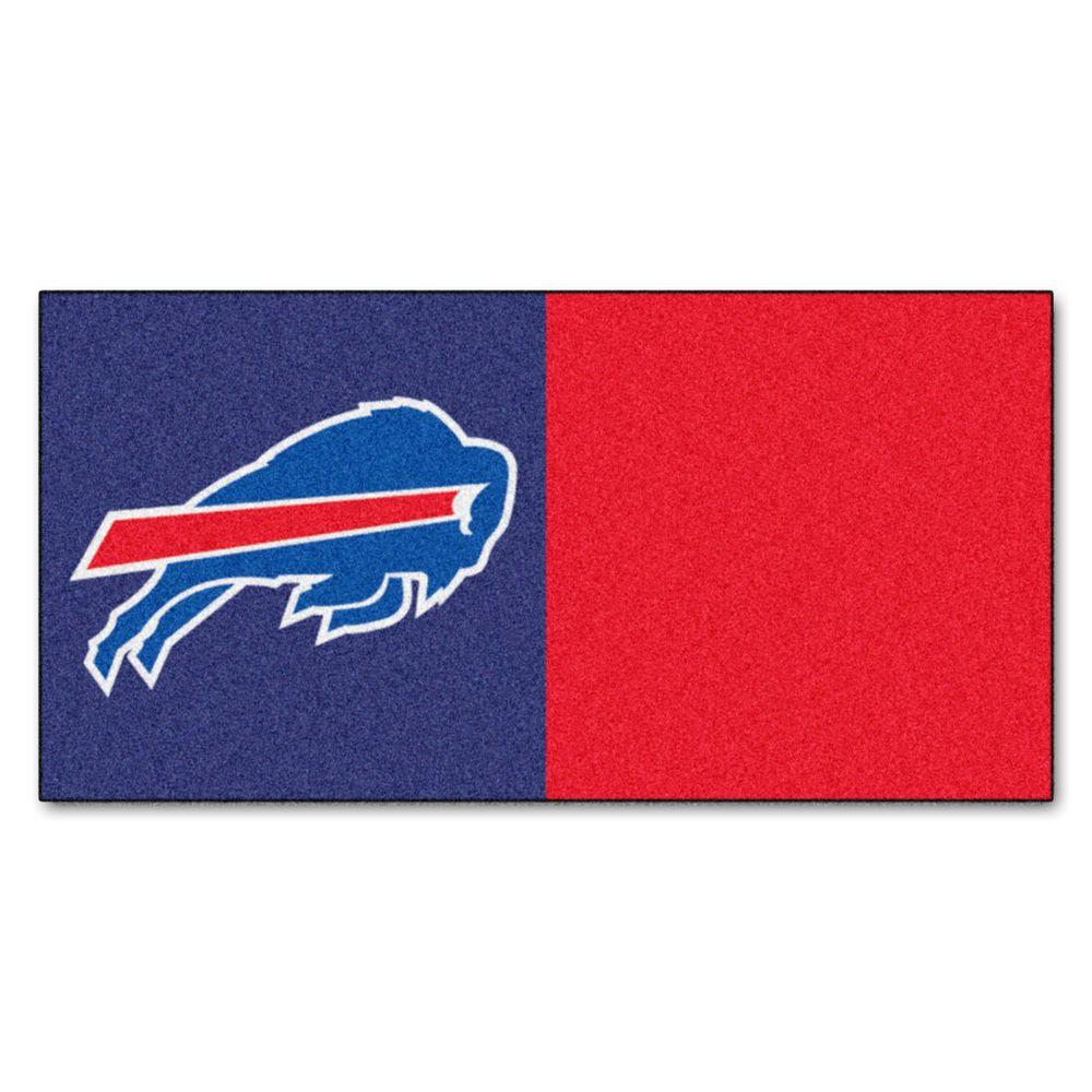 TrafficMASTER NFL - Buffalo Bills Blue and Red Nylon 18 in. x 18 in. Carpet Tile (20 Tiles/Case)