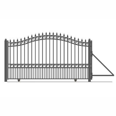London Style 16 ft. x 6 ft. Black Steel Single Slide Driveway with Gate Opener Fence Gate