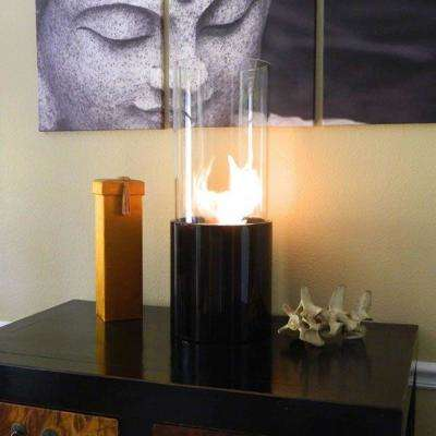 10 in. Tabletop Doppio Ethanol Fireplace in Black and Clear