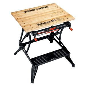 Husky 18 ft x 3 ft portable jobsite workbench 225047 the home depot workmate 425 30 in folding portable workbench and vise greentooth Image collections