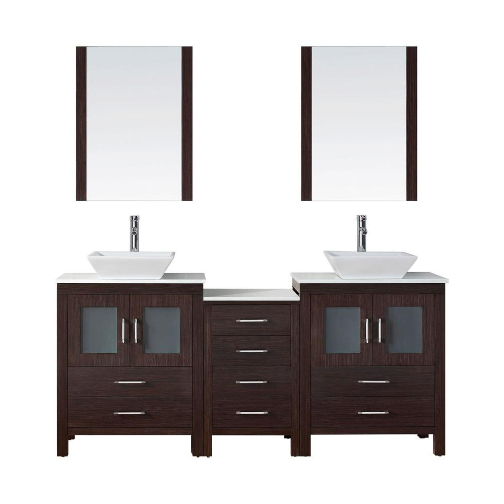 Dior 74 in. W x 18.3 in. D Vanity in Espresso