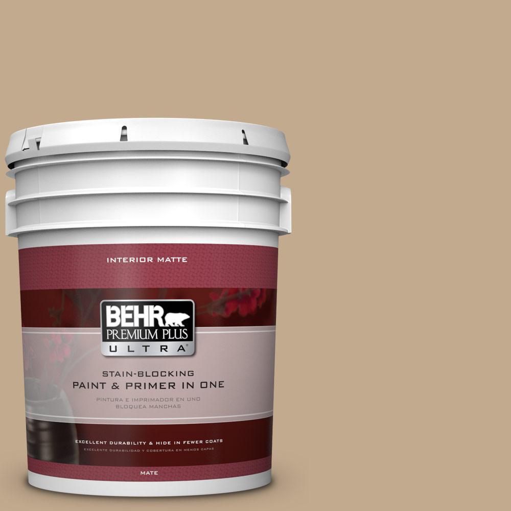 BEHR Premium Plus Ultra 5 gal. #BXC-07 Palomino Tan Matte Interior Paint