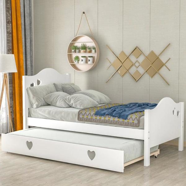 Loving White Twin Size Platform Bed with Trundle for Children