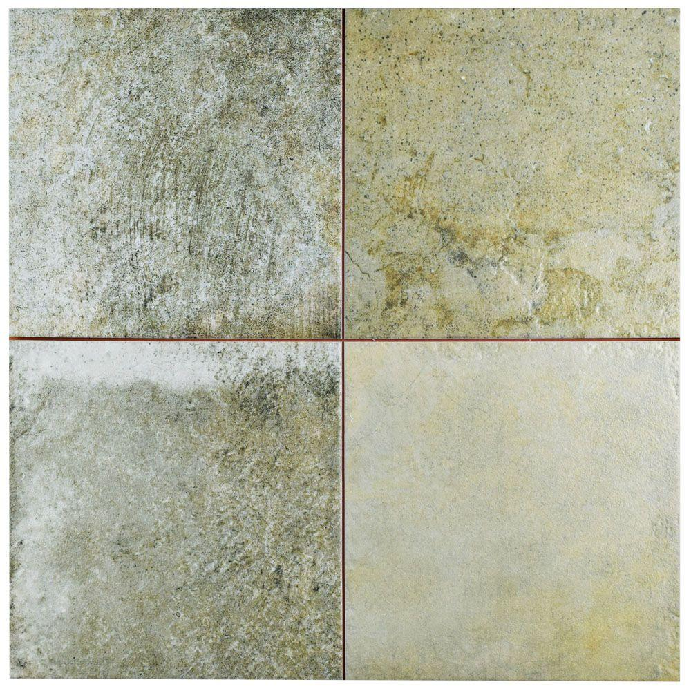 Multi color ceramic tile tile the home depot kings bowery 17 34 in x 17 34 in dailygadgetfo Image collections