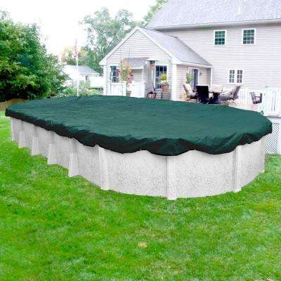 Commercial-Grade 12 ft. x 24 ft. Oval Teal Green Winter Pool Cover