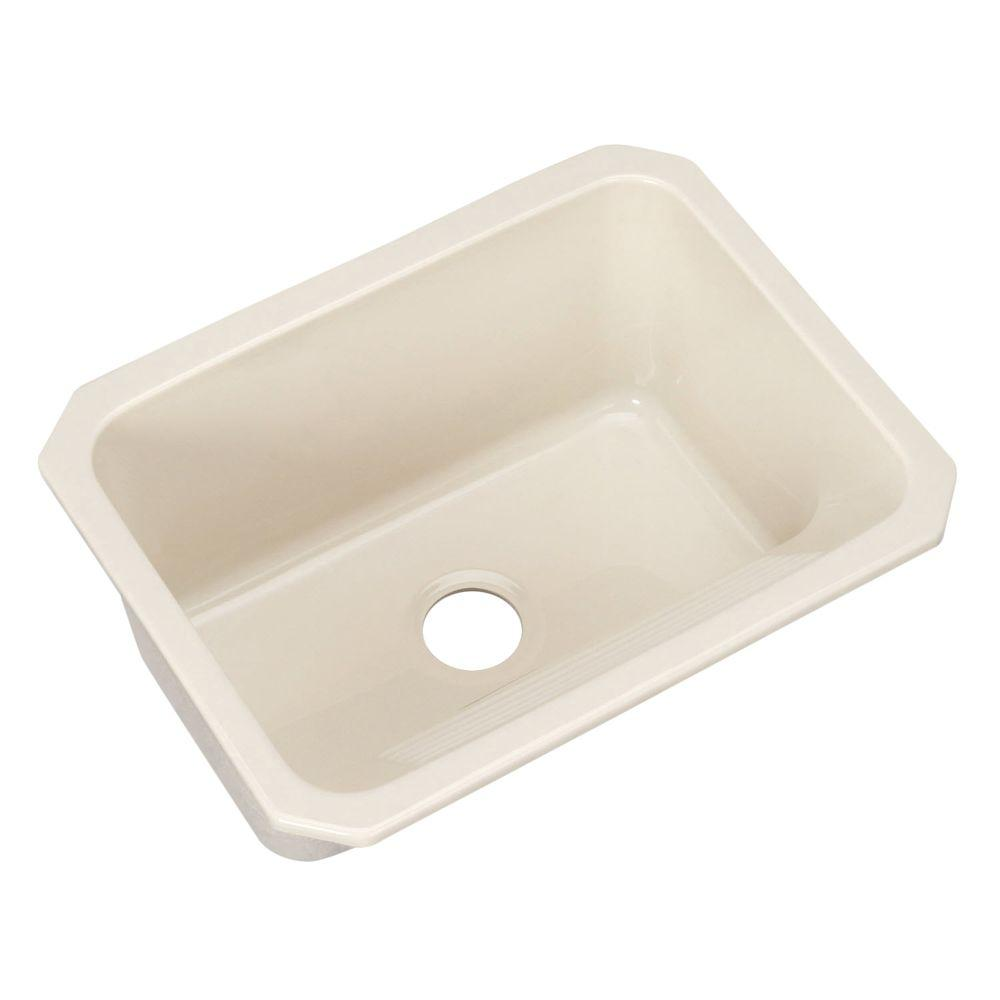 Thermocast Kensington Undermount Acrylic 25 in. Single Bowl Utility Sink Almond