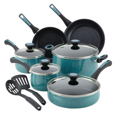 Riverbend 12-Piece Gulf Blue Speckle Cookware Set with Lids