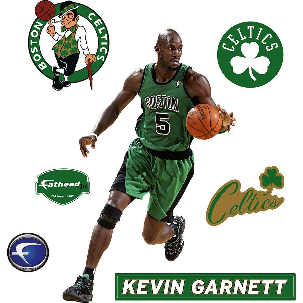 Fathead 21 in. x 32 in. Kevin Garnett Boston Celtics Logo Wall Decal