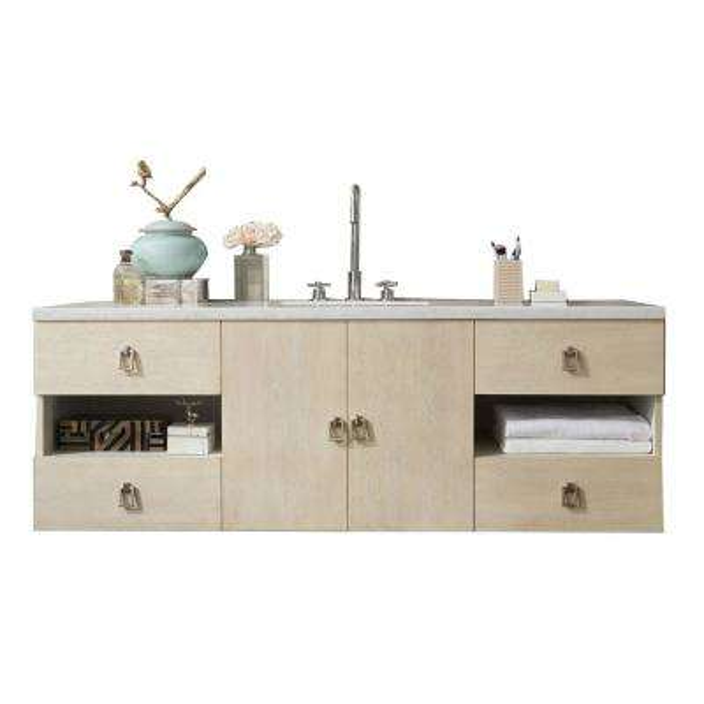 Sonoma 60 in. W Single Vanity in Vanilla Oak with Quartz Vanity Top in White with White Basin