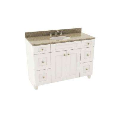 Reading 49 in. Vanity in Linen with Silestone Quartz Vanity Top in Quasar and Oval White Basin