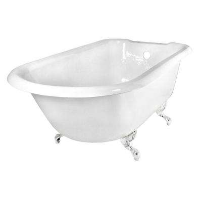 67 in. Roll Top Cast Iron Tub Rim Faucet Holes in White with Ball and Claw Feet in Polished Brass