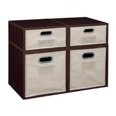 Cubo 26 in. x 19.5 in. Truffle 2 Full-Cube and 2 Half-Cube Organizer with Natural Foldable Storage Bins