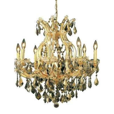 9-Light Gold Chandelier with Teak Smoky Crystal