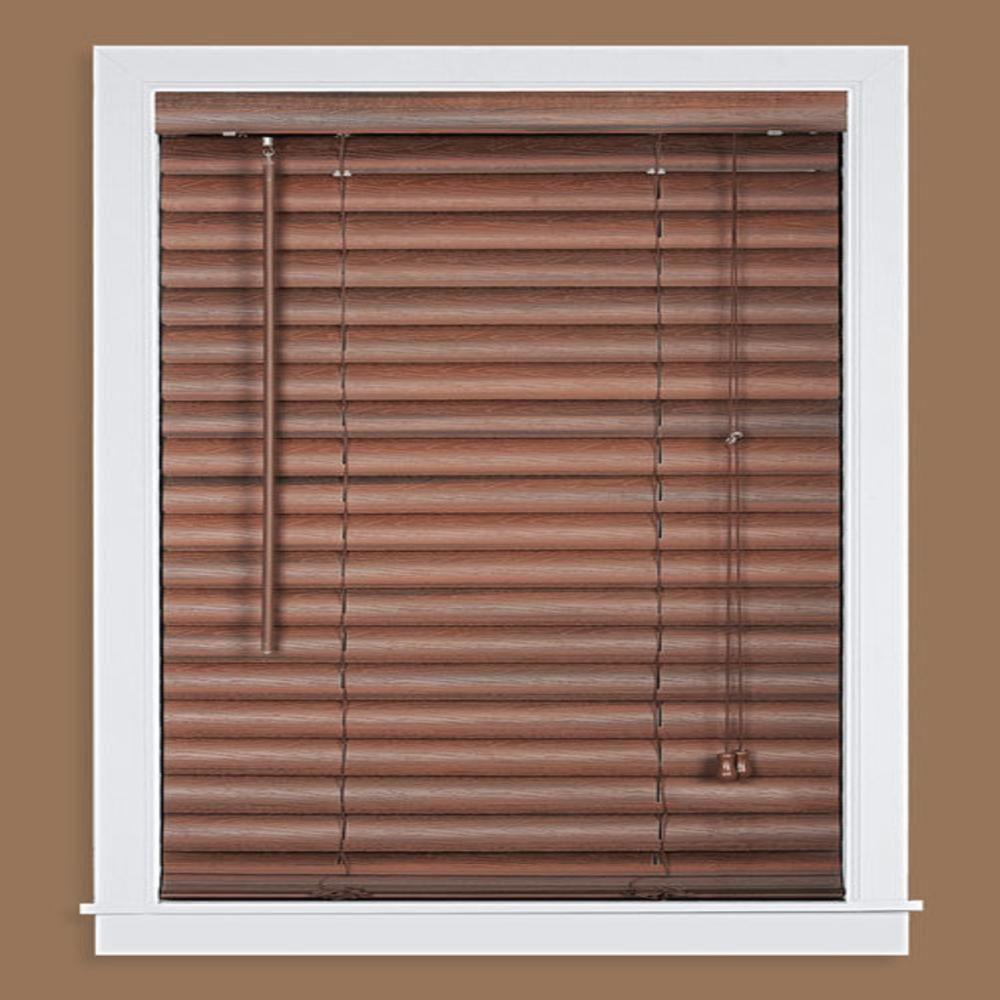 2 inch window blinds flush mount luna mahogany in light filtering vinyl mini blind 29 64