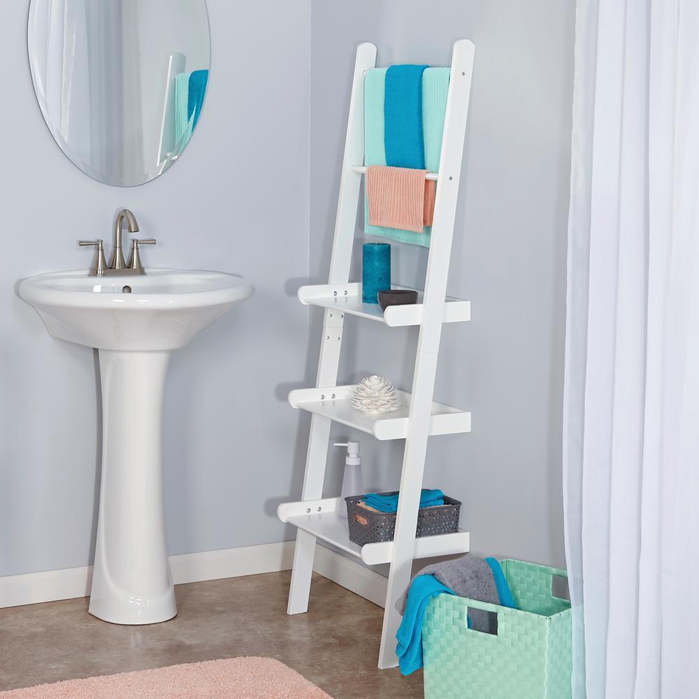 RiverRidge Home - 12 in. L x 59-1/4 in. H x 20 in. W Freestanding MDF 3-Tier Ladder Shelf in White