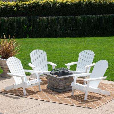 Vicky White 5-Piece Acacia Wood/Stone Patio Fire Pit Conversation Set