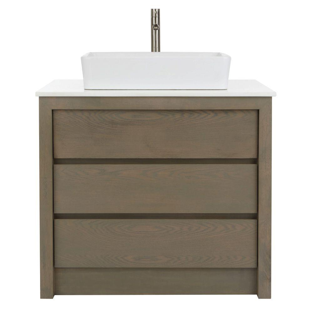 Home decorators collection lawrence 36 in w vanity in weathered grey with marble vanity top in - Home decor bathroom vanities ...