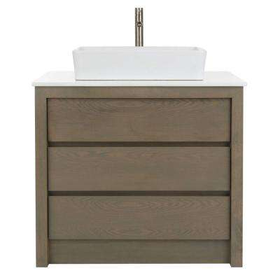 Lawrence 36 in. W Vanity in Weathered Grey with Marble Vanity Top in White with White Sink