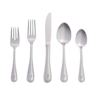 Beaded Monogrammed Letter P 46-Piece Silver Stainless Steel Flatware Set